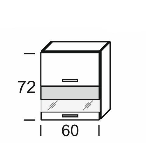 Extom KAMDUO, horní skříňka DUO WO2W_6/72, hruška/ořech