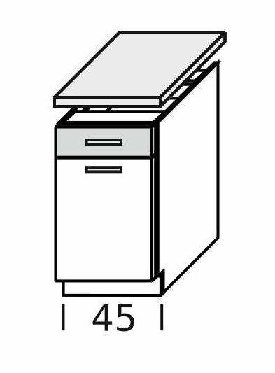Extom KAMDUO, dolní skříňka DUO DS45/1+PD,zebrano/hruška