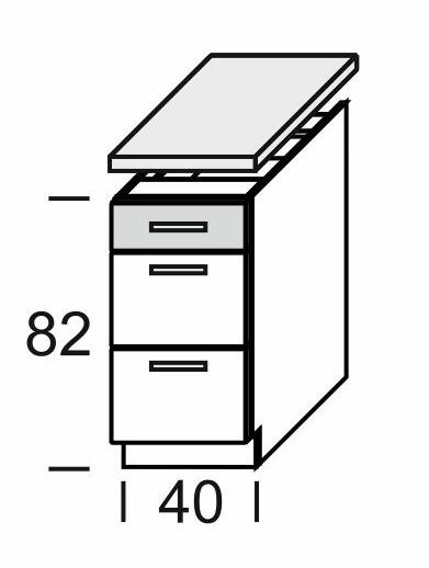 Extom KAMDUO, dolní skříňka DUO DS4/3+PD, modřín/hruška