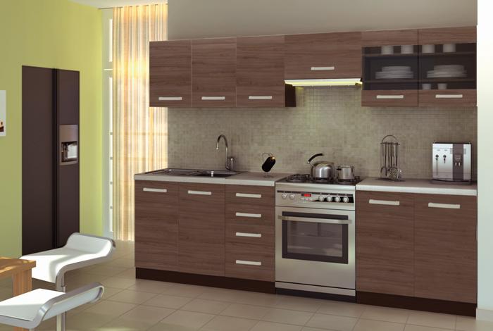 Kuchyně AMANDA 1, 200/260 cm, skořicový akát