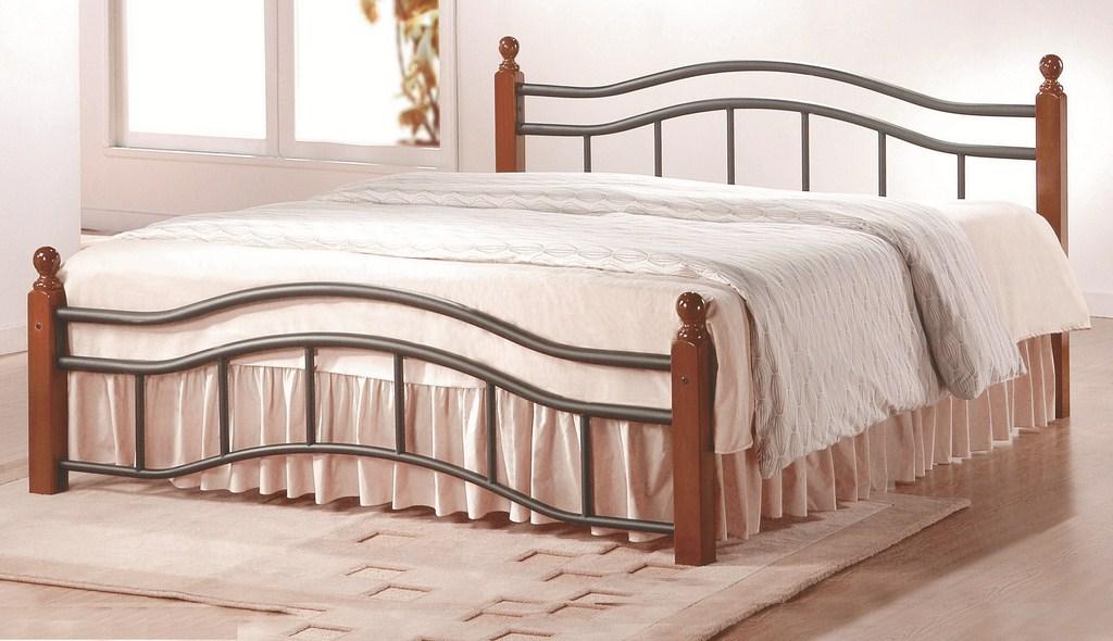 CALABRIA, postel 160x200 s roštem, třešeň antická, kov/masiv