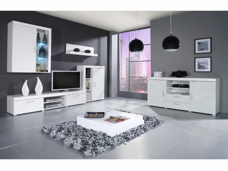 CAMA *SAMBA C, obývací stěna, bílá/bílý lesk