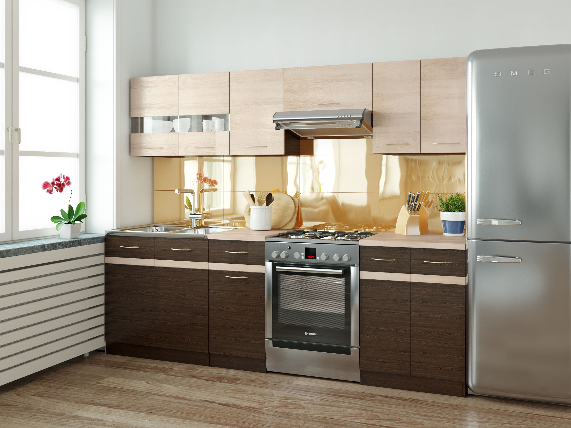 BRW Kuchyň Junona 240 dub sonoma/wenge