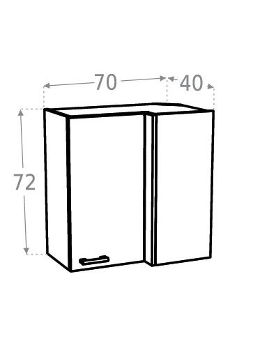 Extom KAMDUO, horní skříňka roh. DUO WRP7x4 pravá, m/h
