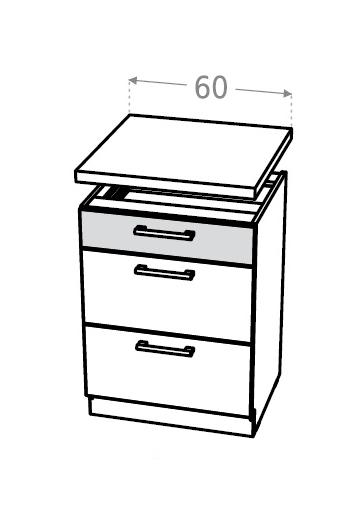 Extom KAMDUO, dolní skříňka DUO DS6/3+PD, modřín/hruška