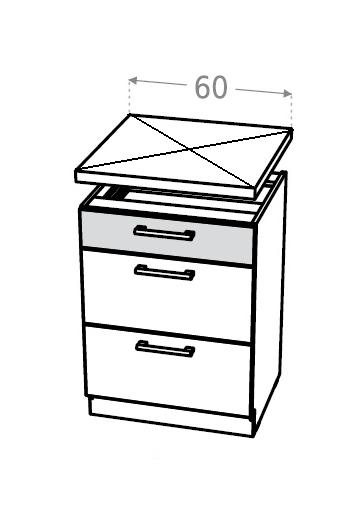 KAMDUO, dolní skříňka DUO DS6/3, dub sonoma/láva