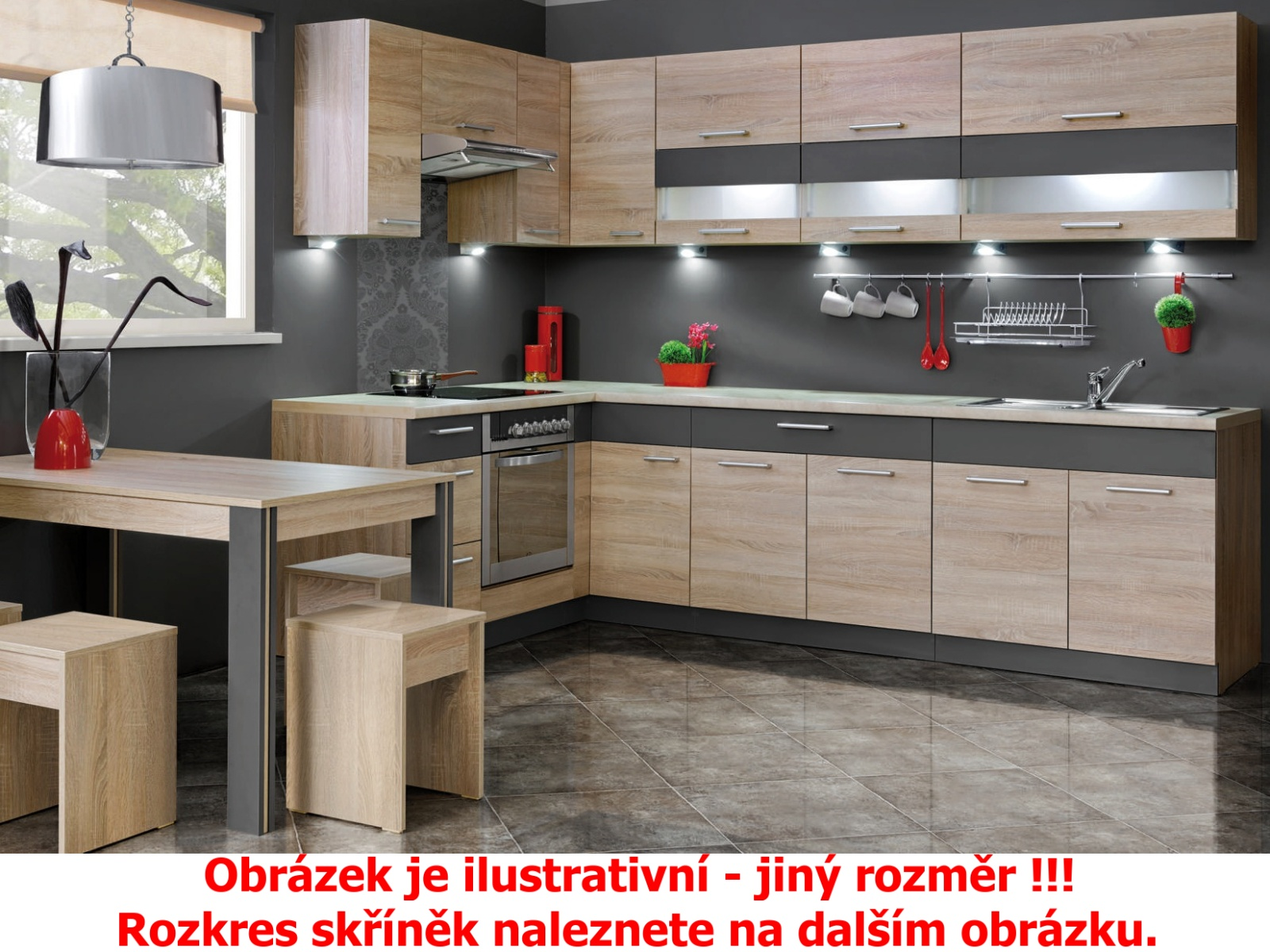 Extom Kuchyně KAMMDUO 320/260, dub sonoma/láva