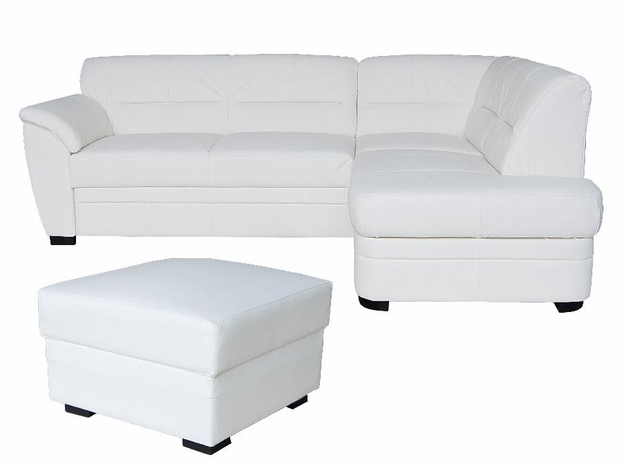 Aspol Kožená rohová sedačka NEVADA, bílá (B-1), pravá
