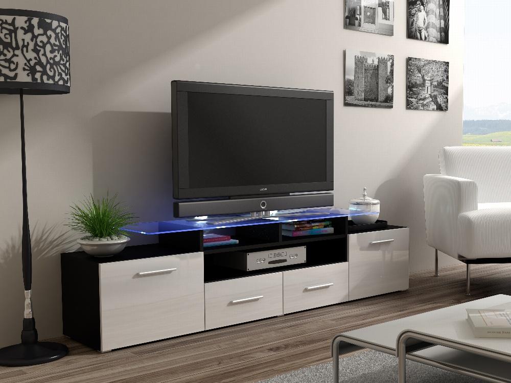 CAMA Televizní stolek RTV EVORA, černý/bílý lesk