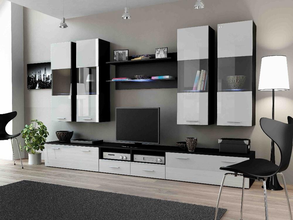 CAMA DREAM I, obývací stěna, černá/bílý lesk