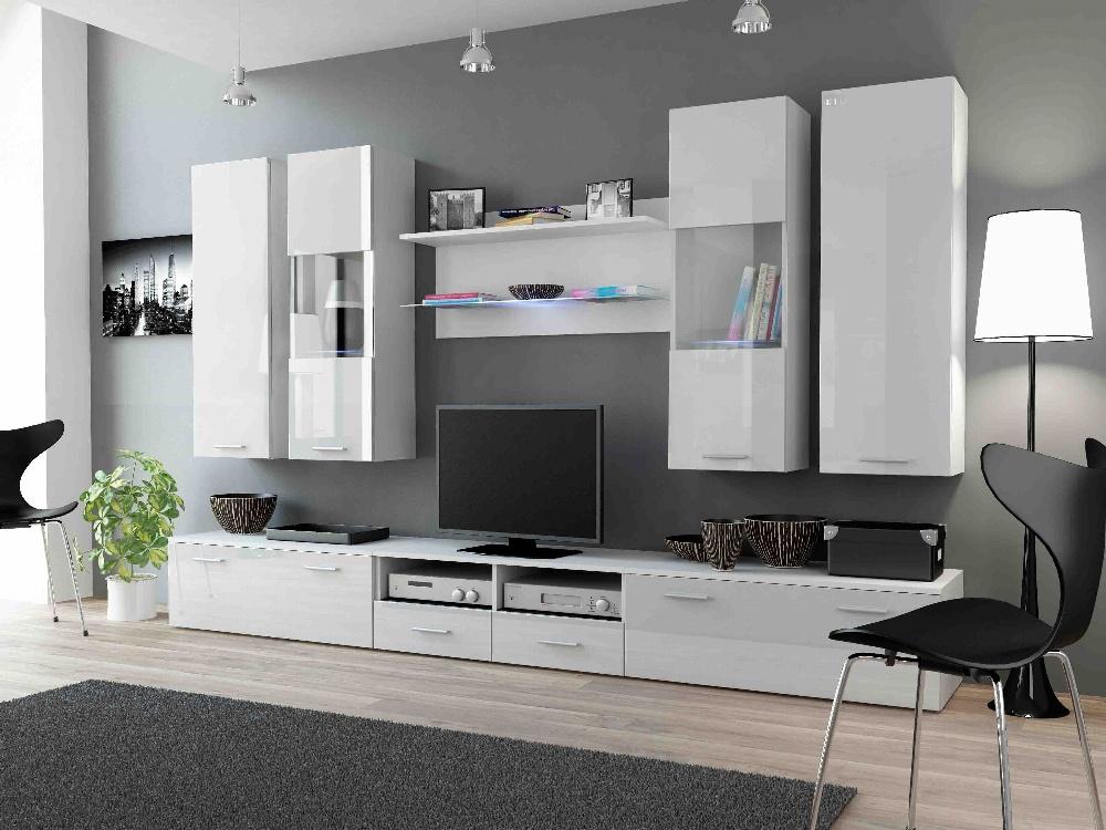 CAMA DREAM II, obývací stěna, bílá/bílý lesk