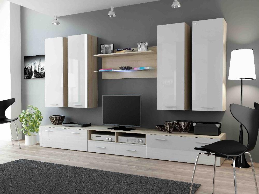 CAMA DREAM III, obývací stěna, dub sonoma/bílý lesk