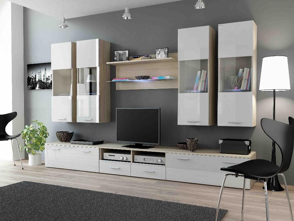 CAMA DREAM I, obývací stěna, dub sonoma/bílý lesk