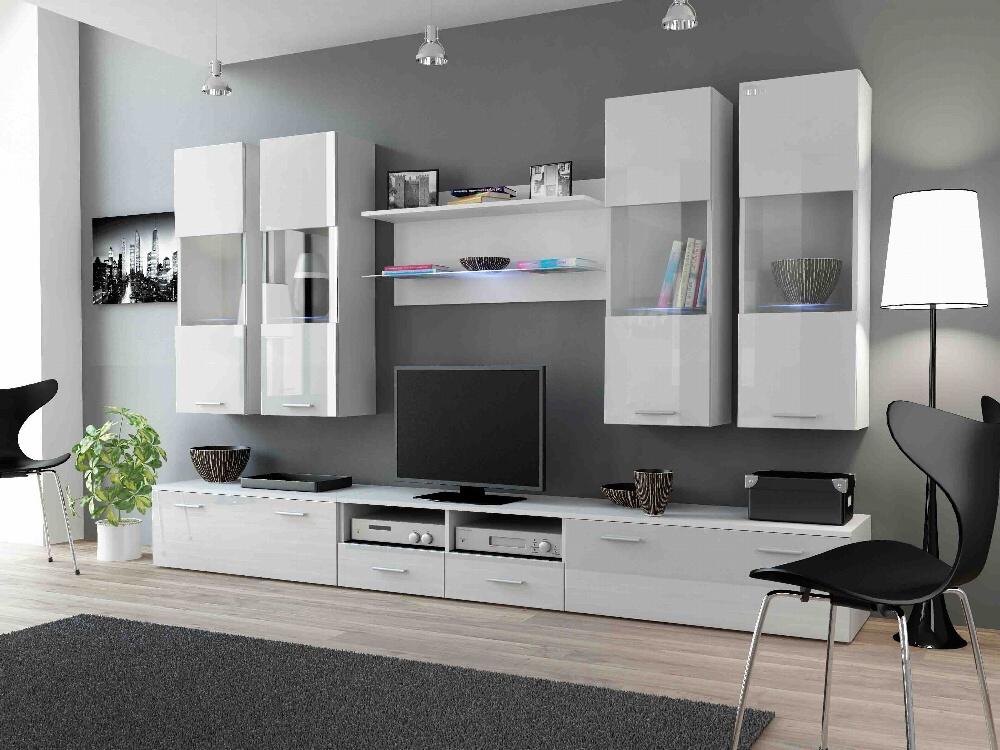 CAMA DREAM I, obývací stěna, bílá/bílý lesk