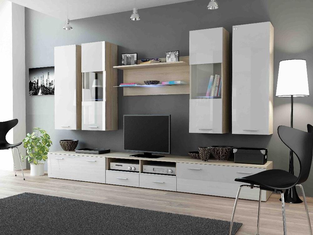 CAMA DREAM II, obývací stěna, dub sonoma/bílý lesk