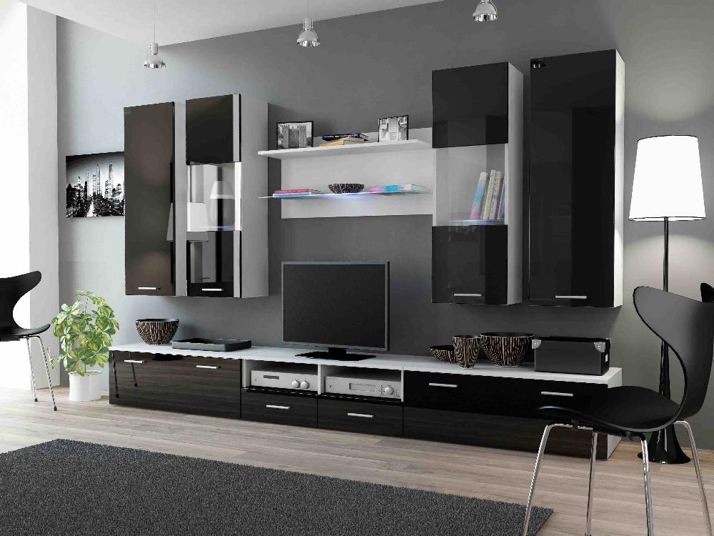 CAMA DREAM II, obývací stěna, bílá/černý lesk