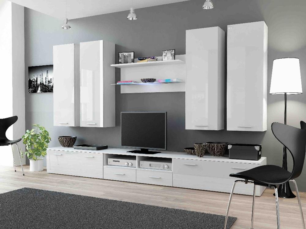 CAMA DREAM III, obývací stěna, bílá/bílý lesk