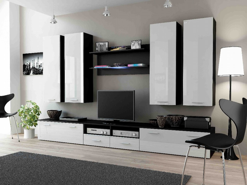 CAMA DREAM III, obývací stěna, černá/bílý lesk