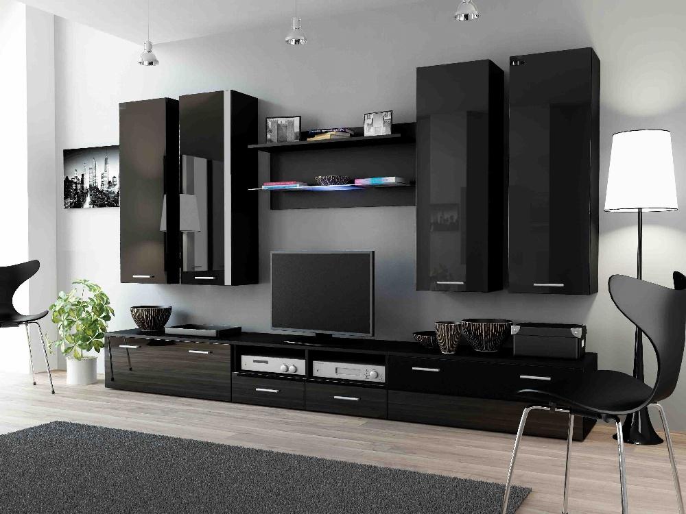 CAMA DREAM III, obývací stěna, černá/černý lesk