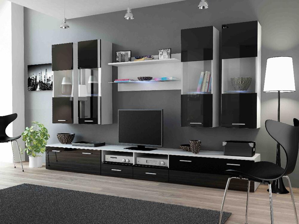CAMA DREAM I, obývací stěna, bílá/černý lesk
