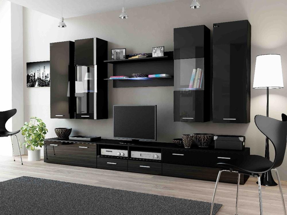 CAMA DREAM II, obývací stěna, černý/černý lesk