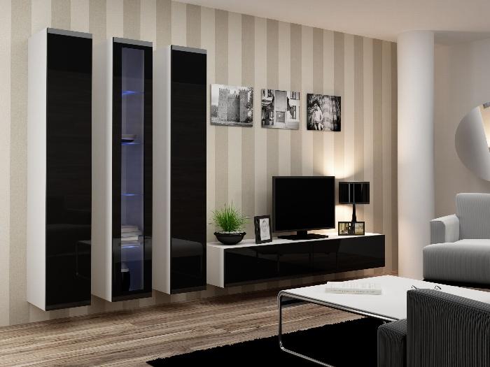CAMA *Obývací stěna VIGO 2 B, bílá/černý lesk