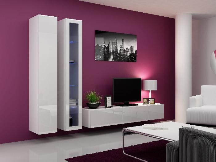 CAMA Obývací stěna VIGGO 3, bílá/bílý lesk