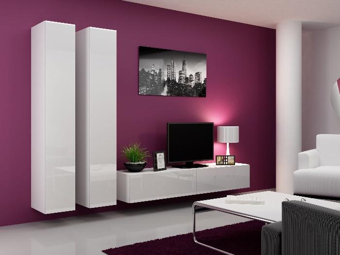 CAMA Obývací stěna VIGO 4 A, bílá/bílý lesk