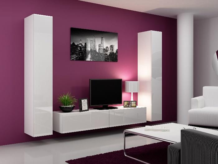CAMA Obývací stěna VIGO 4 B, bílá/bílý lesk