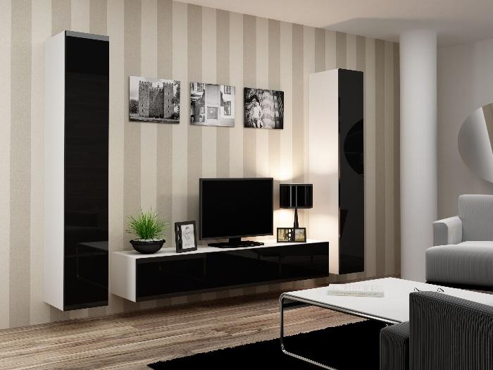 CAMA *Obývací stěna VIGO 4 B, bílá/černý lesk
