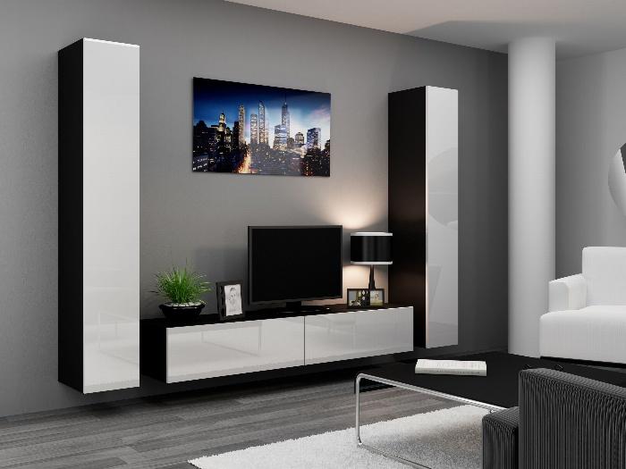 CAMA *Obývací stěna VIGO 4 B, černá/bílý lesk