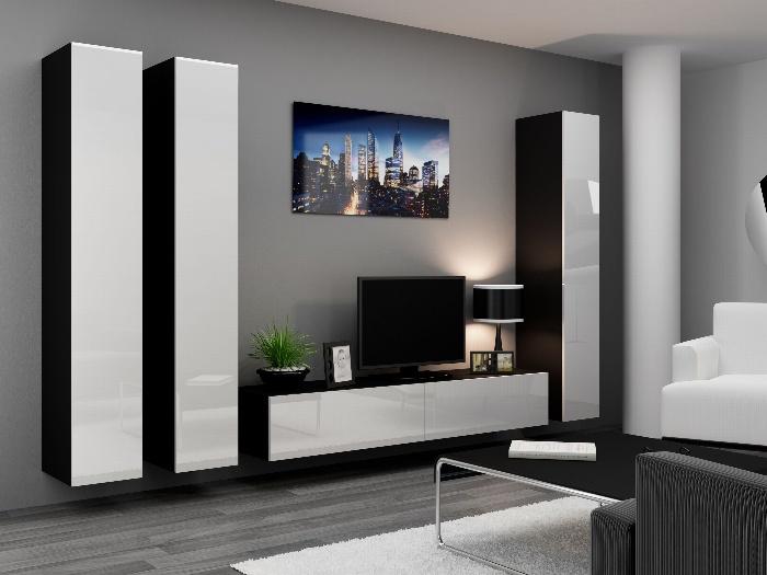 CAMA *Obývací stěna VIGO 1, černá/bílý lesk