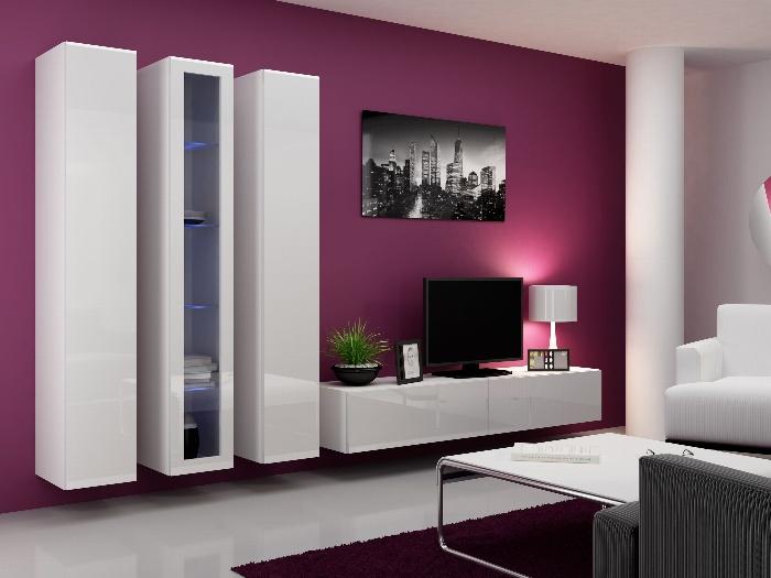 CAMA Obývací stěna VIGO 2 B, bílá/bílý lesk