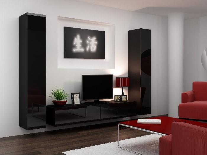 CAMA *Obývací stěna VIGO 4 B, černá/černý lesk