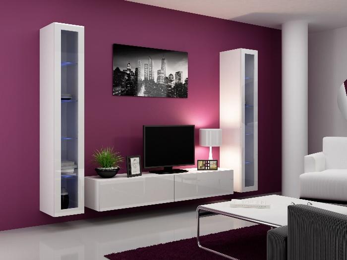 CAMA Obývací stěna VIGO 5, bílá/bílý lesk