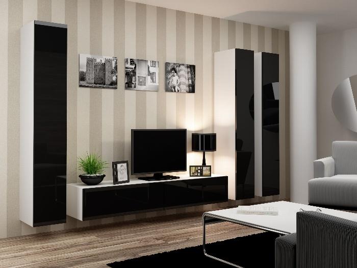 CAMA *Obývací stěna VIGO 1, bílá/černý lesk