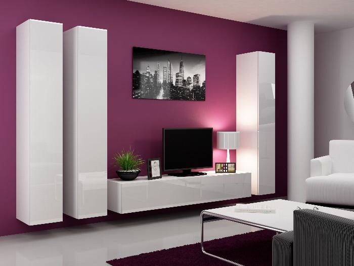 CAMA Obývací stěna VIGO 1, bílá/bílý lesk