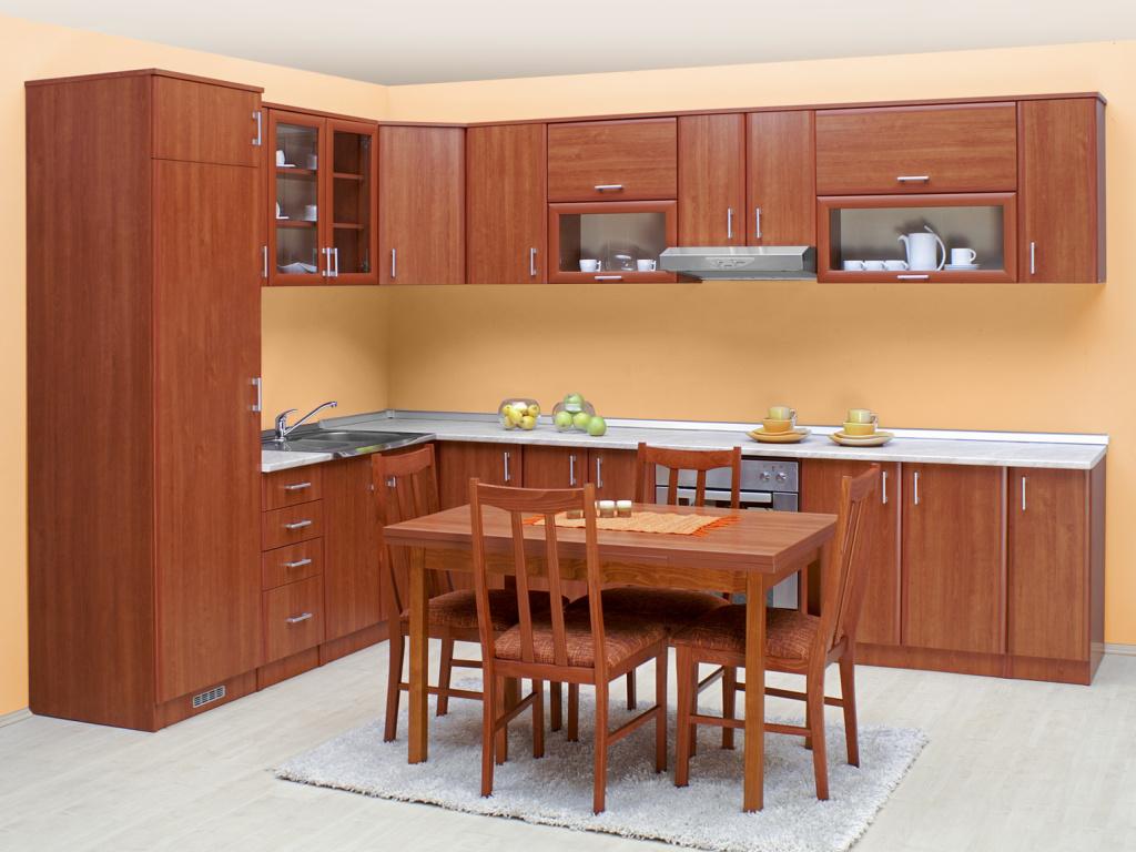 MATIS Rohová kuchyně IN 240x330 cm, třešeň VZOROVÁ SESTAVA