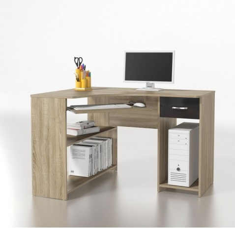 ORFA MIX Rohový PC stůl MICRO M14, dub sonoma/černá