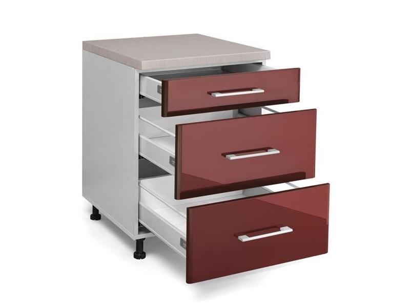MATIS IN MDF, dolní skříňka D60 F PL-BOX, bordó lesk, prac. deska: