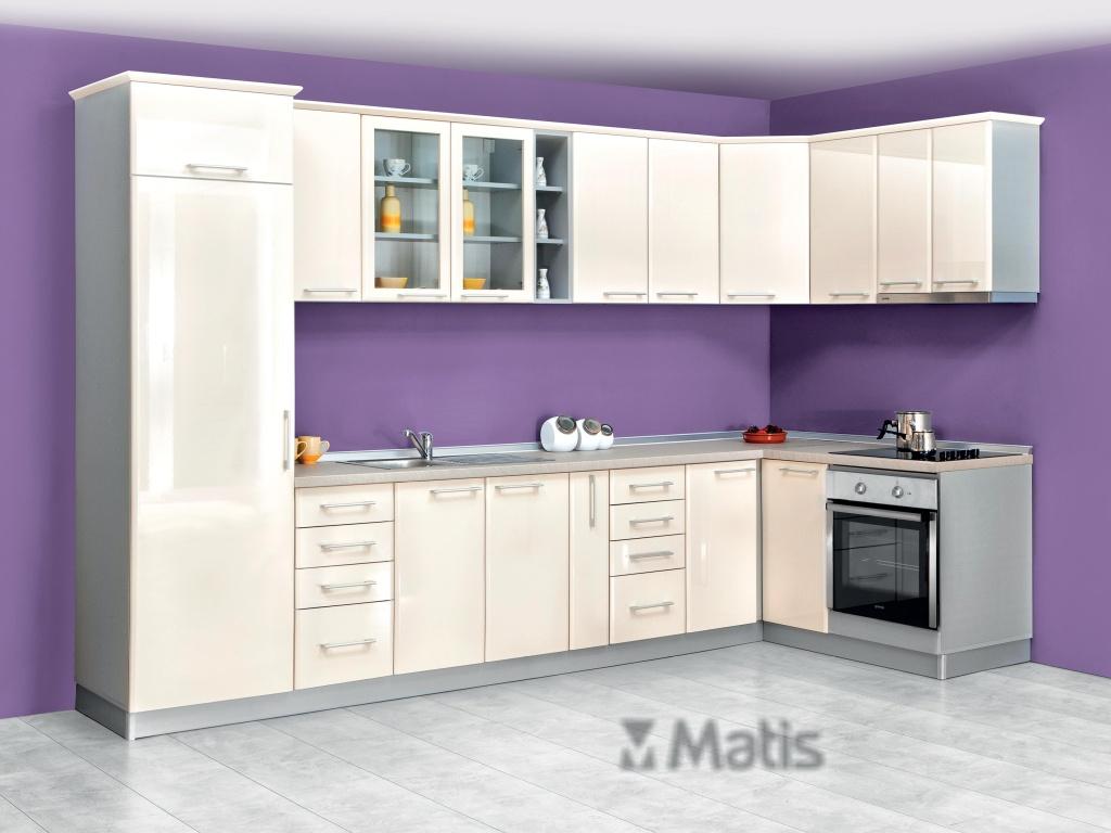 MATIS Rohová kuchyně IN MDF 340x160 cm, béžový lesk VZOR. SESTAVA, prac. deska: