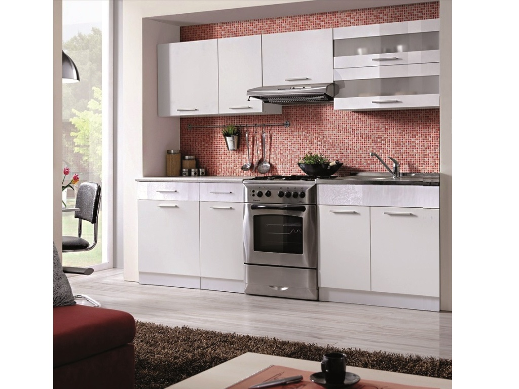 Smartshop Kuchyně MARTINA COM 180/240 cm, bílá/bílý lesk