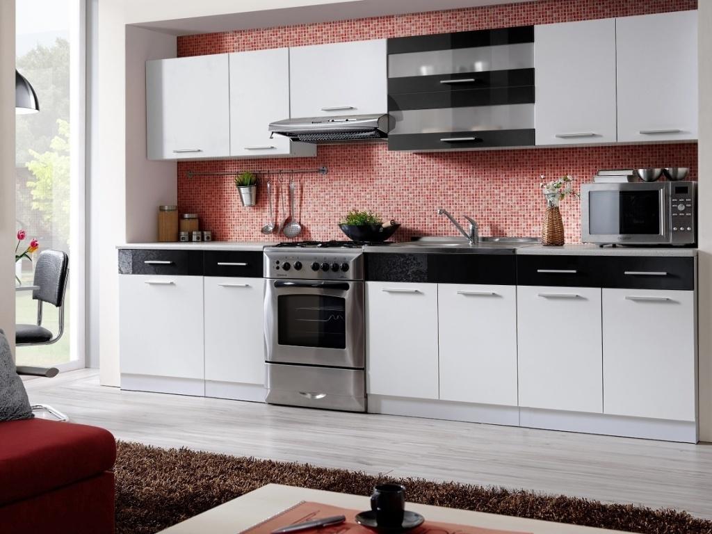 Smartshop Kuchyně MARTINA COM 260/320 cm, bílá/černý lesk