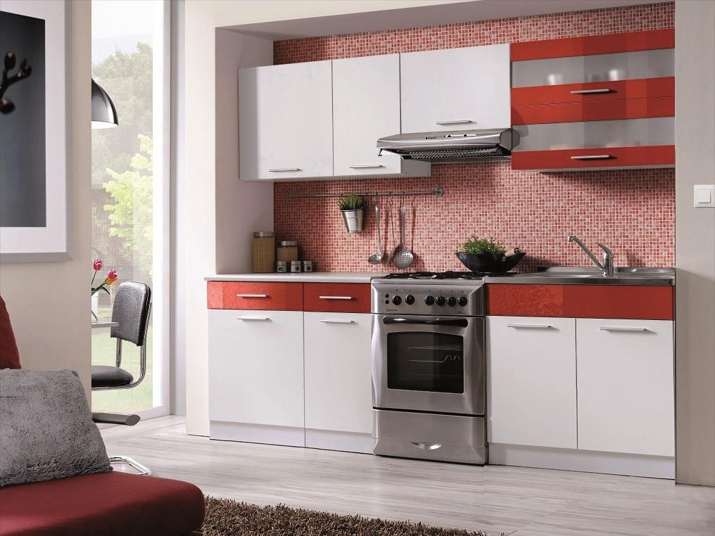 Smartshop Kuchyně MARTINA COM 180/240 cm, bílá/červený lesk