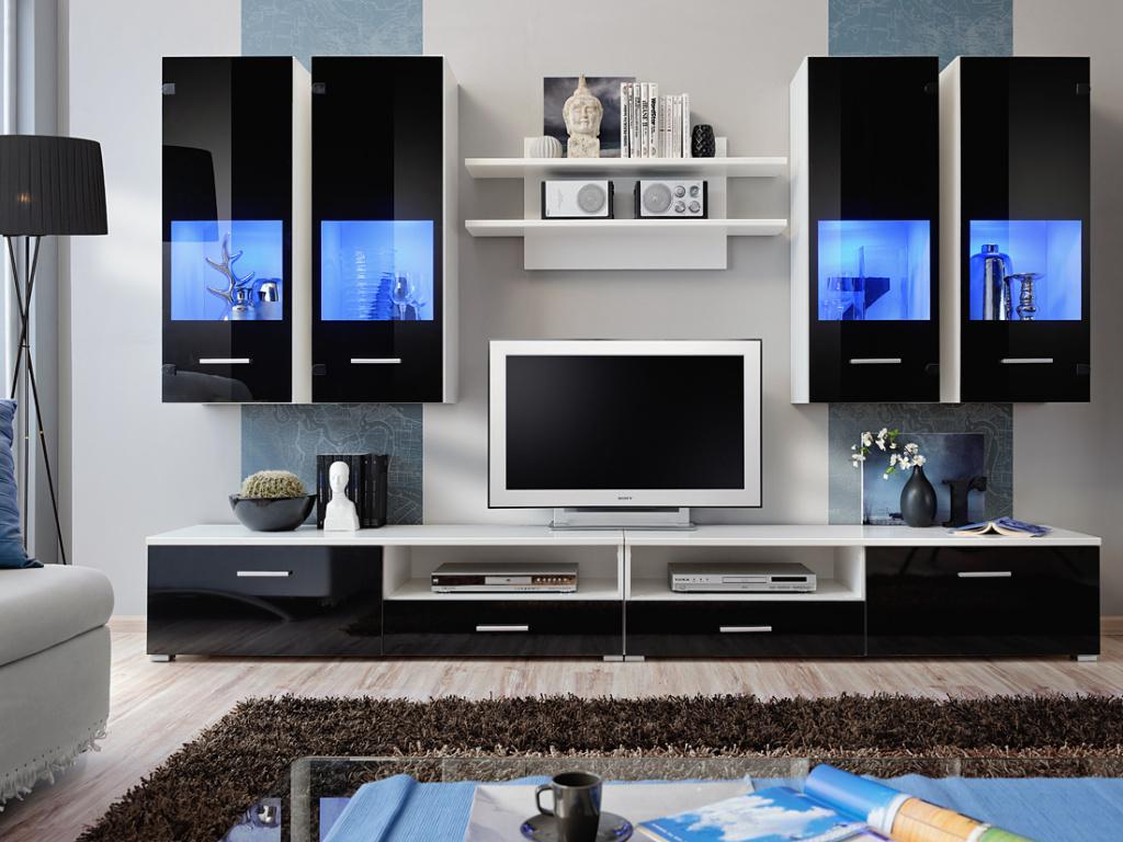 Smartshop RENNO 4, obývací stěna, bílá/černý lesk
