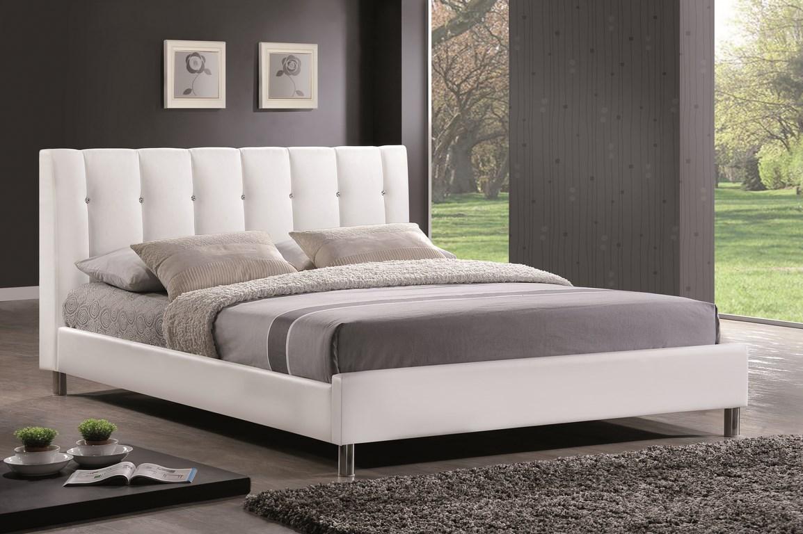 Smartshop CRYSTAL, postel 160x200 cm, bílá ekokůže