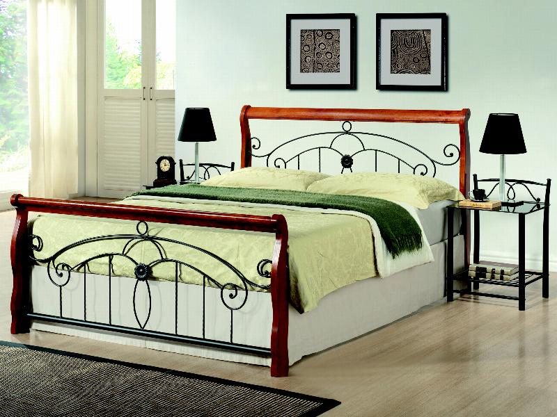 Smartshop VICTORIA II, postel 180x200 cm s roštem, masiv/kov, třešeň antická