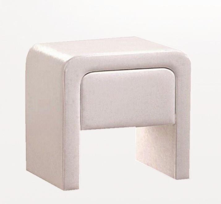 Noční stolek TERRANO NS, bílá koženka
