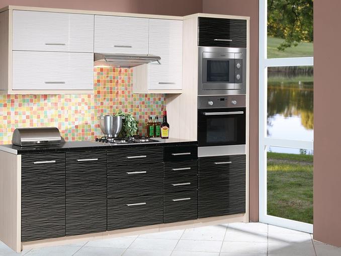 Extom Kuchyně PLATINUM 240 cm, VZOROVÁ SESTAVA, white+black