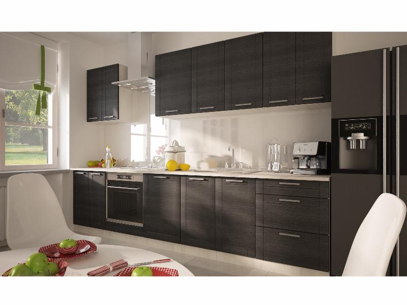 Extom Kuchyně TITANIUM, korpus jersey, dvířka fino černé